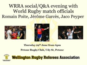 Social Evening with World Rugby Referees @ Petone Rugby Football Club